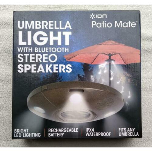 ION Bluetooth stereo speaker & ledlamp - parasol verlichting